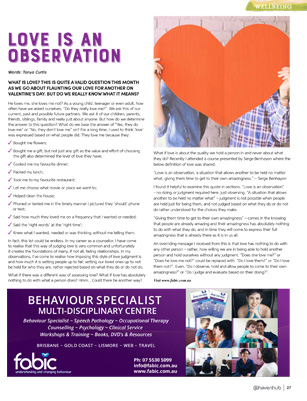 Tanya Curtis Haven for Families Magazine - Love Is An Observation