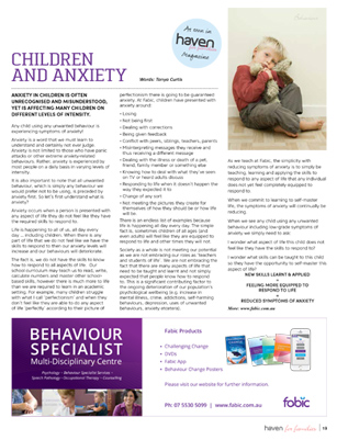 Children and Anxiety - July Haven for Families Magazine Article by Tanya Curtis