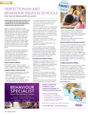Tanya Curtis Haven for Families Magazine Perfectionism and Behaviour Issues in Schools