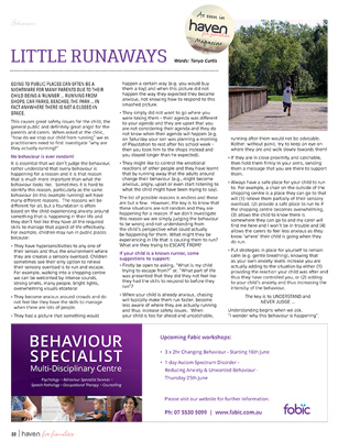 Little Runaways - June Haven for Families Magazine Article by Tanya Curtis