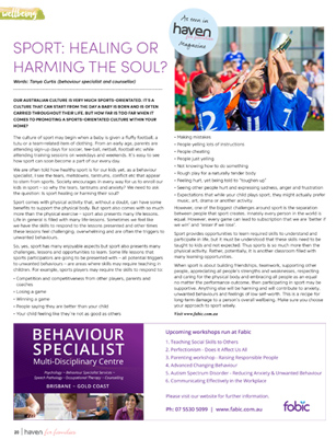 Sport: Healing or Harming the Soul? by Tanya Curtis Behaviour Specialist
