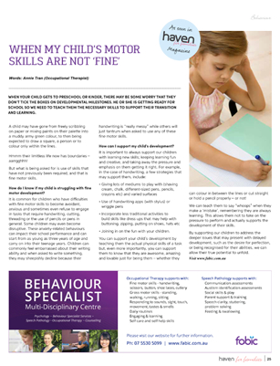 Annie Tran Occupational Therapist Haven for Families Magazine Article