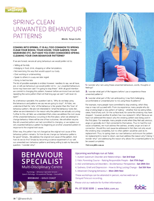 Tanya Curtis Haven for Families Magazine Spring Clean Unwanted Behaviour Patterns